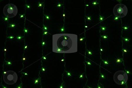 Curtain lights stock photo, Green curtain lights isolated on black background by Jonas Marcos San Luis