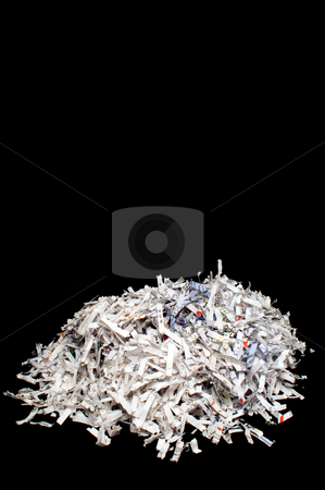 Shredded Paper stock photo, Destroyed documents in a pile from a paper shredder. by Robert Byron