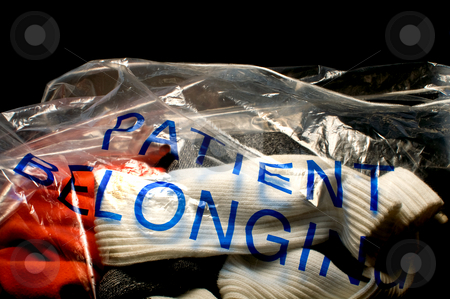 Patient Belongings stock photo, A bag full of a hospital patients belongings. by Robert Byron