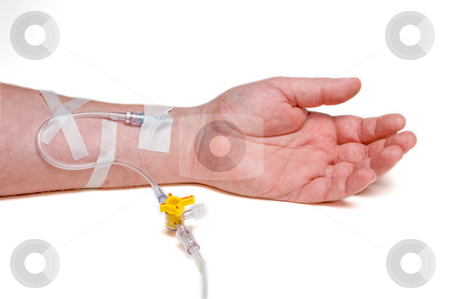 Patient IV stock photo, A medical patient with an IV in his arm. by Robert Byron