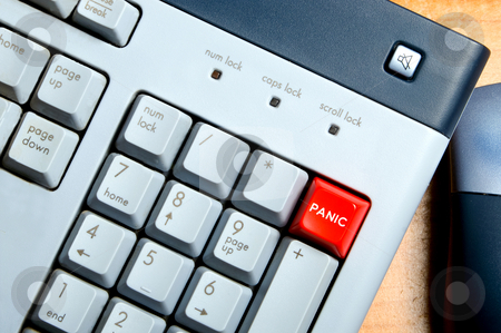 Panic Button stock photo, A panic button on a computer keyboard. by Robert Byron