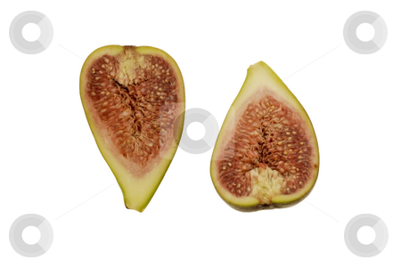 Fig, cut open in two parts stock photo, Fig, cut open in two parts by Claudia Van Dijk