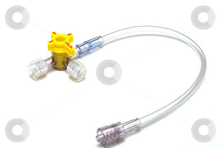 IV Stopcock stock photo, A medical 4 way stopcock for an IV bag. by Robert Byron