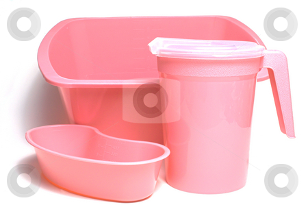 New Patient Hygiene Kit stock photo, A pink medical wash basin, kidney tray and water pitcher. by Robert Byron