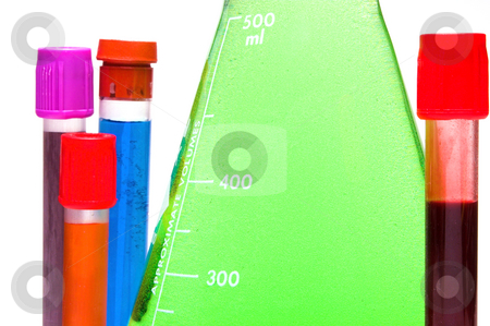 Beaker and Test Tubes stock photo, A beaker and test tubes in a laboratory. by Robert Byron