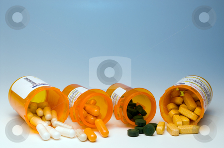 Prescription Medication stock photo, Prescription pills in a plastic medicine bottle. by Robert Byron