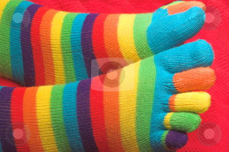 Striped Knit Socks stock photo, Clean and colorful striped knitted toe socks. by Robert Byron