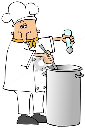 Salting The Pot stock photo, This illustration depicts a chef putting salt into a large stockpot. by Dennis Cox