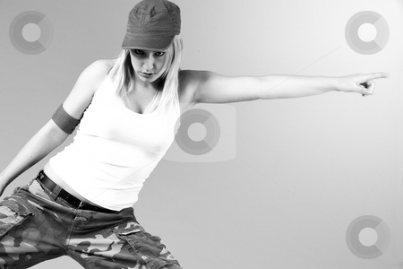 Happy moving girl stock photo, Attractive blond girl is dancing by Frenk and Danielle Kaufmann
