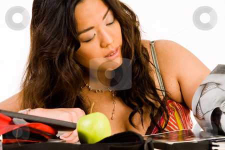 Chinese girl is learning stock photo, Sexy school girl learning for her exam by Frenk and Danielle Kaufmann