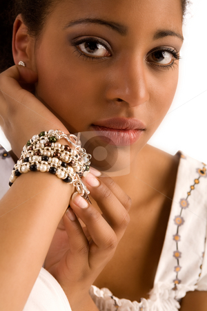 African gems stock photo, African girl with her gem in the studio by Frenk and Danielle Kaufmann