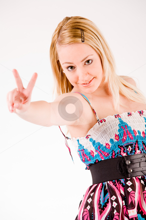 Girl with peace sign stock photo, Young sexy blond girl is giving signs by Frenk and Danielle Kaufmann