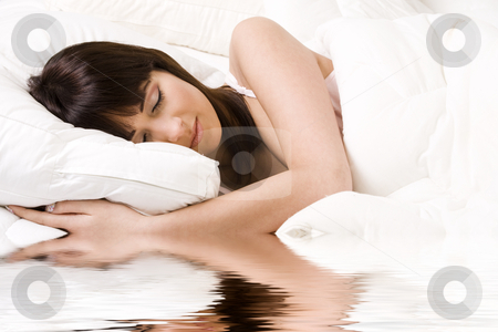 Sleeping like a princess stock photo, Brunette in bed sleeping by Frenk and Danielle Kaufmann