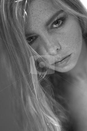Sunlight in my blond hair stock photo, Studio portrait of a beautyfull blond model by Frenk and Danielle Kaufmann