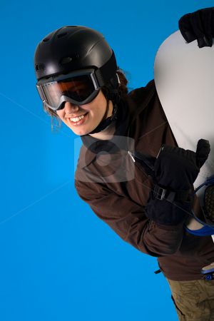 Woman with snowboard equipment stock photo, Snowboarder in full equipment making the hang loose sign by Frenk and Danielle Kaufmann