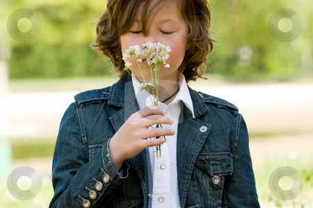 Smelling it stock photo, Young boy is smelling on his flower by Frenk and Danielle Kaufmann
