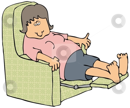 Tired Woman stock photo, This illustration depicts a sleepy woman sitting in a recliner. by Dennis Cox