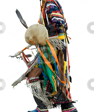 Native American Pow Wow stock photo, An native american dressed in traditional dance clothing, isolated on a white background by Richard Nelson