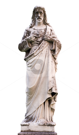 Statue of Jesus stock photo, A statue of Jesus Christ isolated on a white background by Richard Nelson
