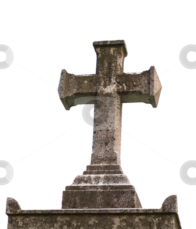 Isolated Stone Cross stock photo, A religious stone cross, isolated on a white background by Richard Nelson