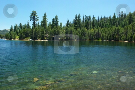 Mountain Lake stock photo, Clear blue Sierra lake in summertime by Lynn Bendickson
