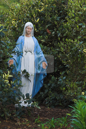 Virgin Mary Statue stock photo, A statue of the Virgin mary in a garden. by Robert Byron