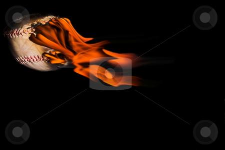 Flaming Baseball stock photo, A homerun baseball flaming across the night sky. by Robert Byron