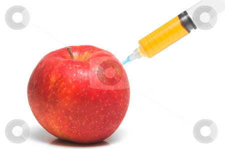 Apple Injection stock photo, Apple juice being extracted from an apple. by Robert Byron