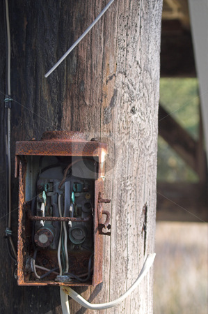 Old Electrical Box stock photo, An old electrical box on a telephone pole. by Robert Byron