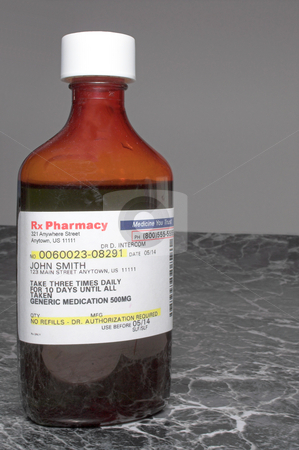 Prescription Cough and cold Syrup stock photo, Prescription cough and cold medication in a medicine bottle. by Robert Byron