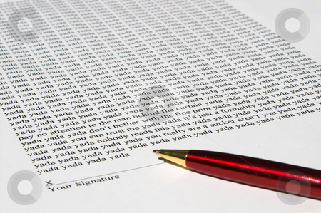 Fine Print document stock photo, Buyer beware and read the fine print. by Robert Byron