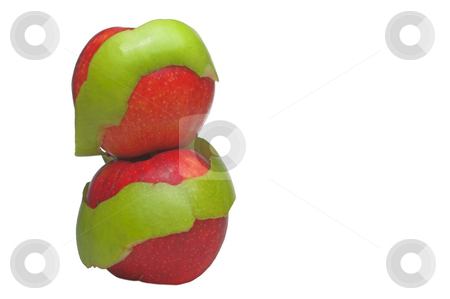 Fresh Apples stock photo, Two red apples wrapped in a Granny Smith apple peel. by Robert Byron