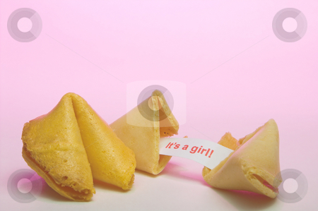 Fortune Cookie - Birth Announcement stock photo, A fortune cookie announcing the birth of a girl. by Robert Byron