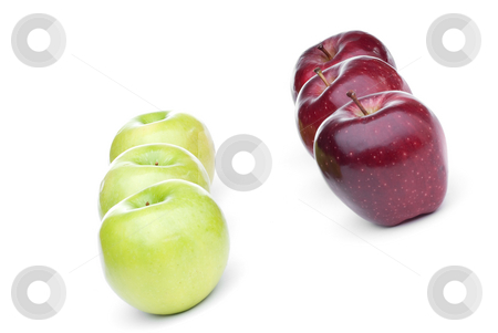 Red and green apples stock photo, Red and green apples lined up on a white background by Vince Clements
