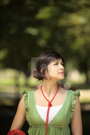Life is good stock photo, Young lady outdoor looking at the nature around her with a peaceful face by Claudia Veja
