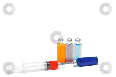 Medicine Vial and Syringe stock photo, Several prescription medicine vials and a syringe. by Robert Byron