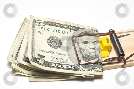 Money Trap stock photo, Money caught in a mousetrap. Financial concept. by Robert Byron