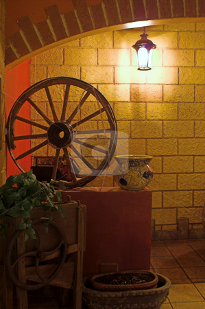 Spanish Cafe stock photo, The outside of an old Spanish style cafe in the evening. by Robert Byron