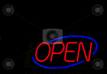 Neon Open Sign stock photo, A colorful neon sign letting people know that an establishment is open. by Robert Byron
