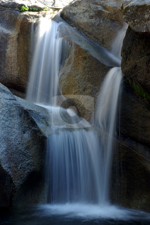 Sierra Waterfall stock photo, A waterfall in summertime located in the Crystal Basin Wilderness area in California. by Lynn Bendickson