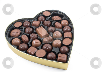 Valentines Candy stock photo, A large box of chocolate Valentines candy. by Robert Byron