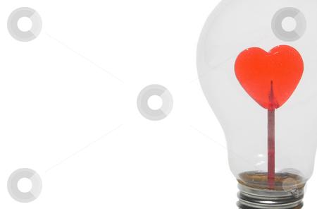 Light Hearted stock photo, A heart inside of a light bulb. by Robert Byron