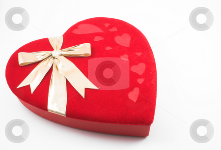 Red Heart Box stock photo, A lone red Valentines heart candy box. by Robert Byron