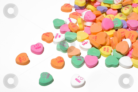 Conversation Hearts stock photo, Conversation hearts Valentines day candy. Concept of love. by Robert Byron