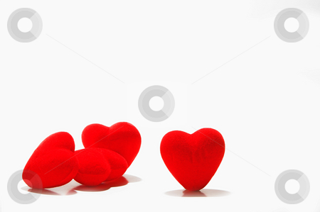 Hearts stock photo, A close-up image of several red hearts. by Robert Byron