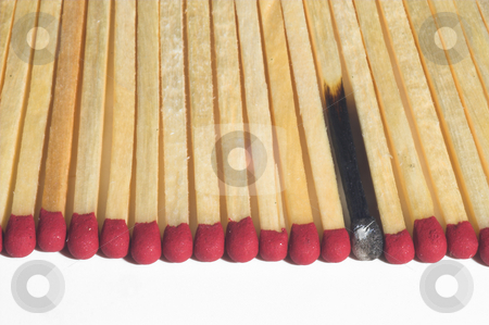 Kitchen Matches stock photo, Wooden kitchen matches lined up in a row. by Robert Byron