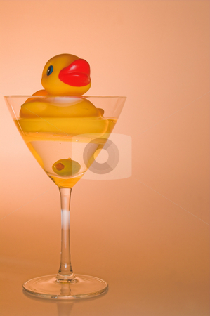 Duck Martini stock photo, A rubber duck in a martini glass. by Robert Byron