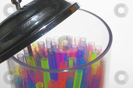 Drinking Straws stock photo, A container full of colorful drinking straws. by Robert Byron