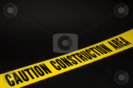 Construction Area stock photo, Construction area ribbon tape for barracading areas. by Robert Byron
