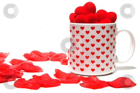 Heart Coffee Cup stock photo, A Valentine coffee cup full of hearts. by Robert Byron